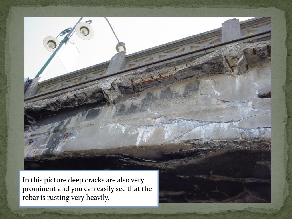 In this picture deep cracks are also very prominent and you can easily see that the rebar is rusting very heavily.
