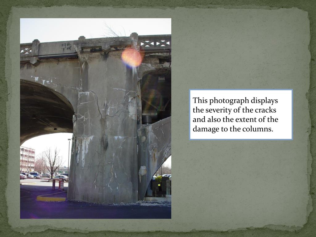 This photograph displays the severity of the cracks and also the extent of the damage to the columns.