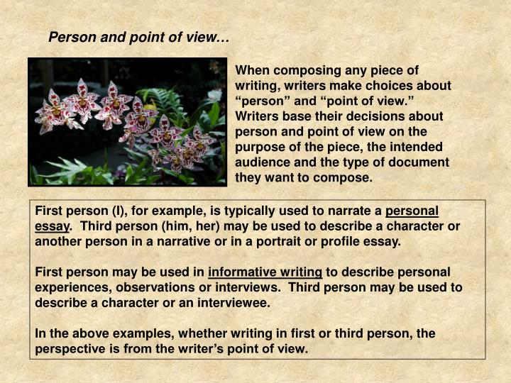 Person and point of view…