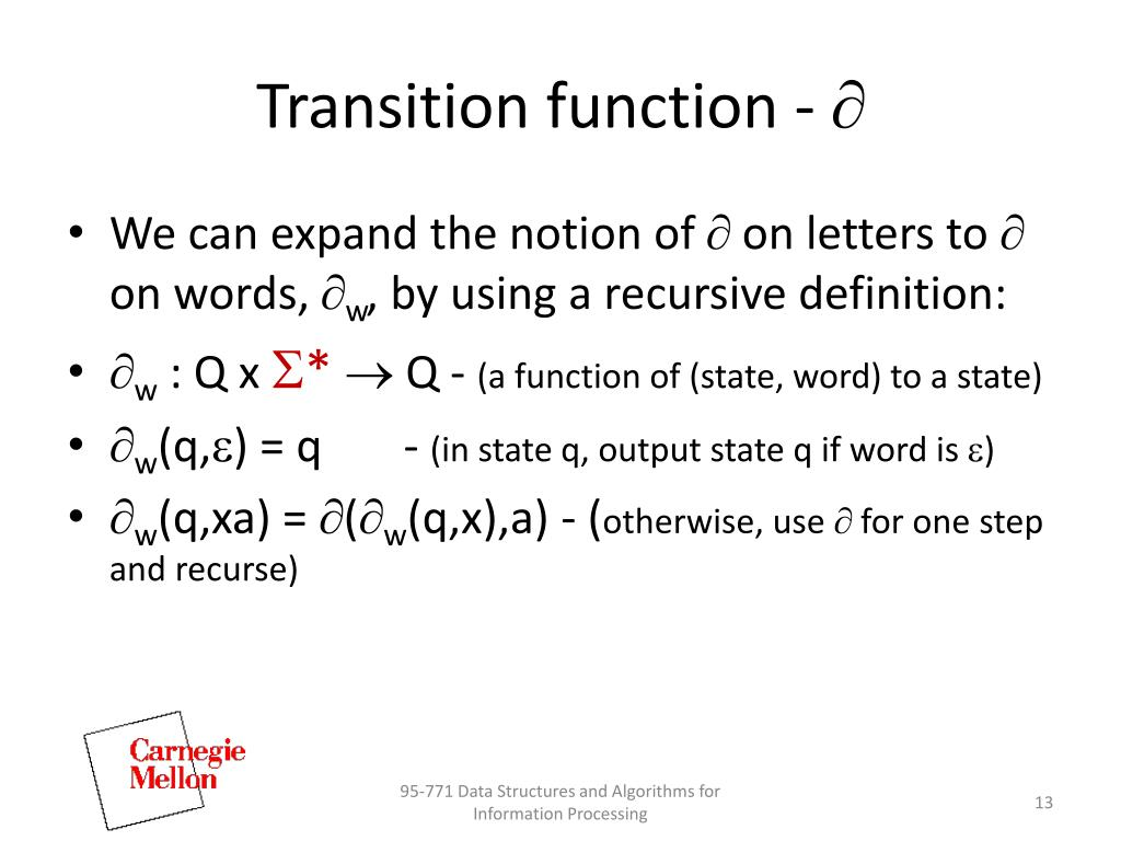 Transition function -