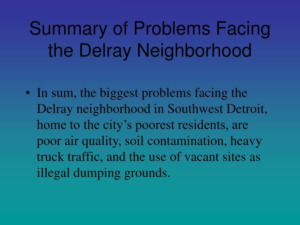 Summary of Problems Facing