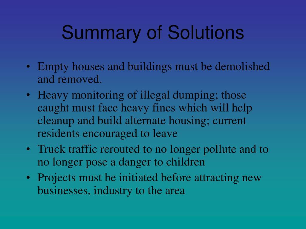 Summary of Solutions