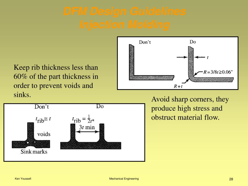 Avoid sharp corners, they produce high stress and obstruct material flow.