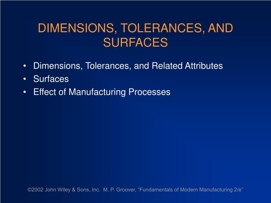 dimensions tolerances and surfaces