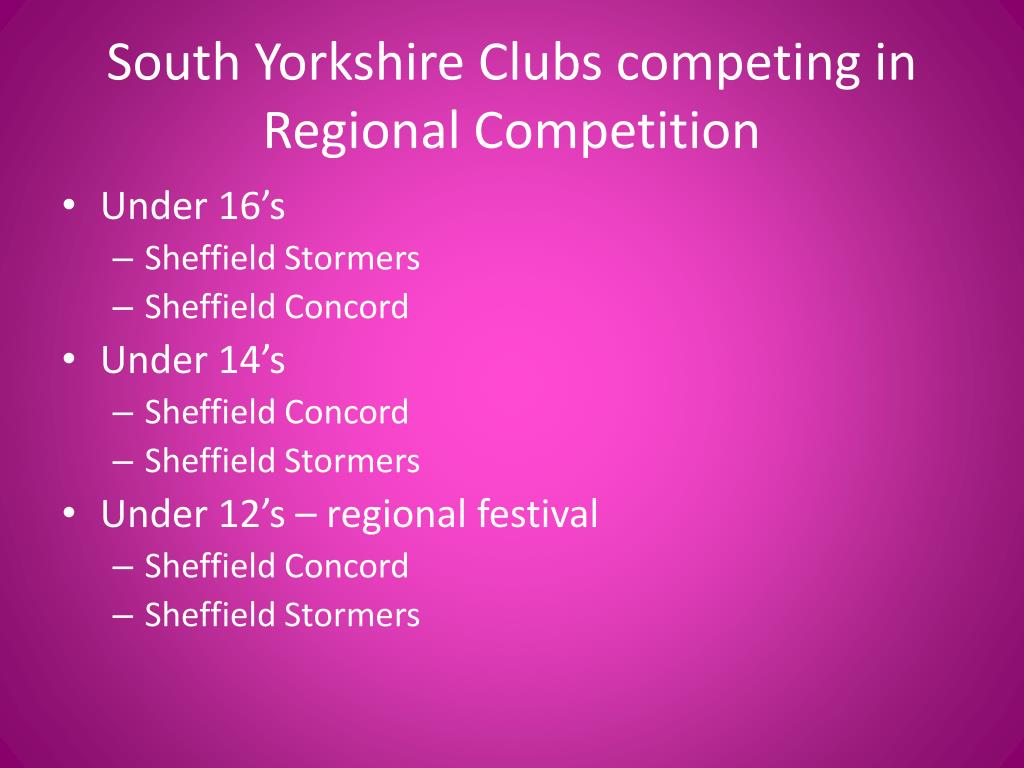 South Yorkshire Clubs competing in Regional Competition