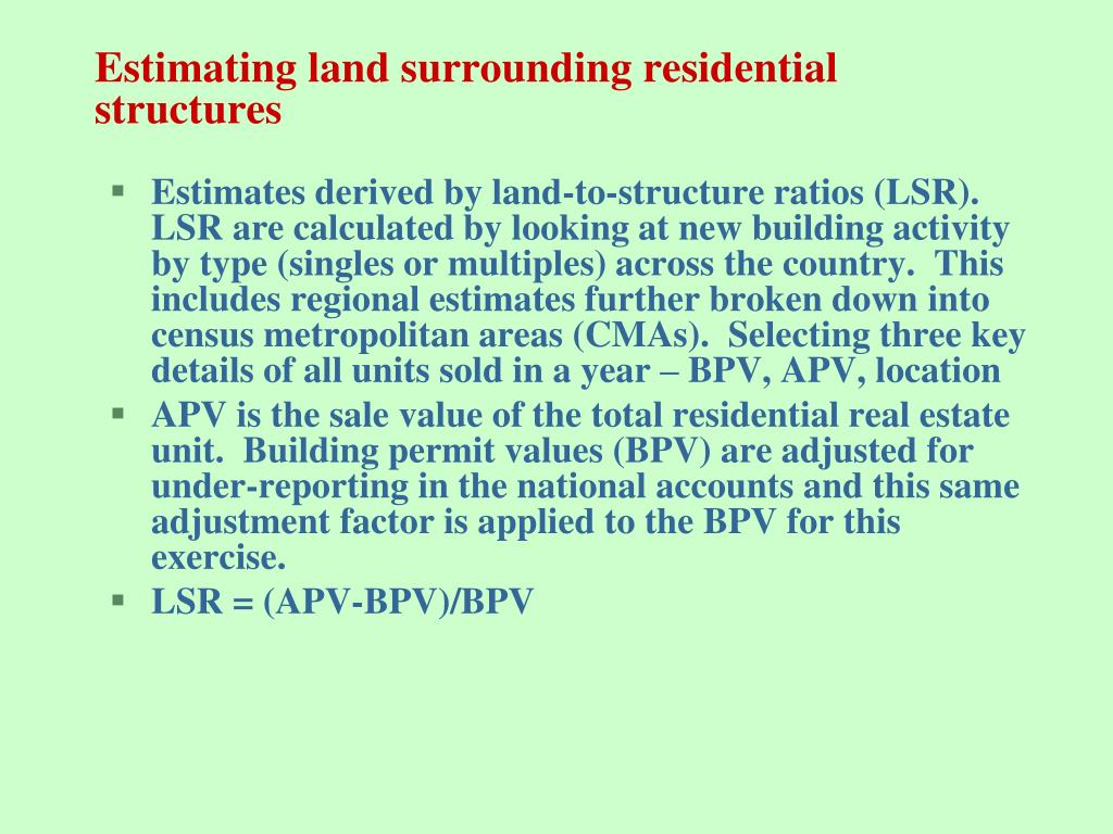 Estimating land surrounding residential structures