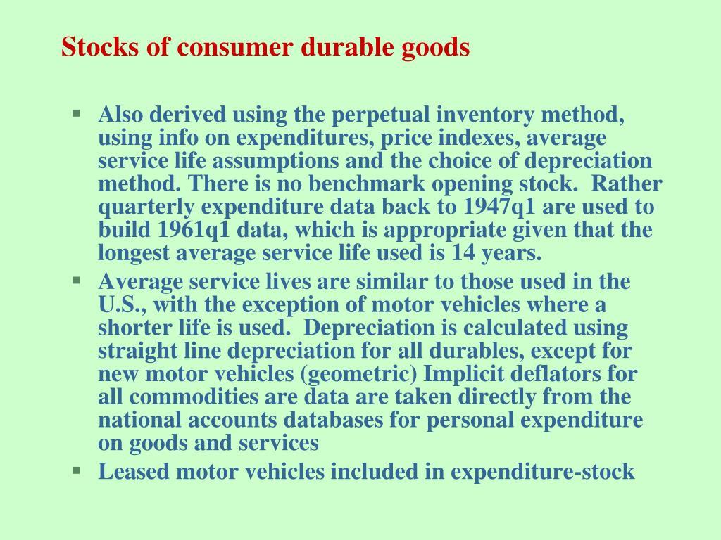 Stocks of consumer durable goods