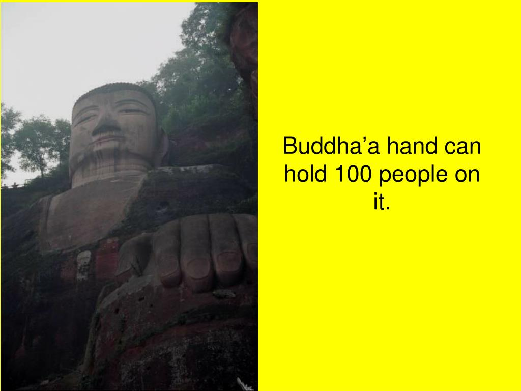 Buddha'a hand can hold 100 people on it.