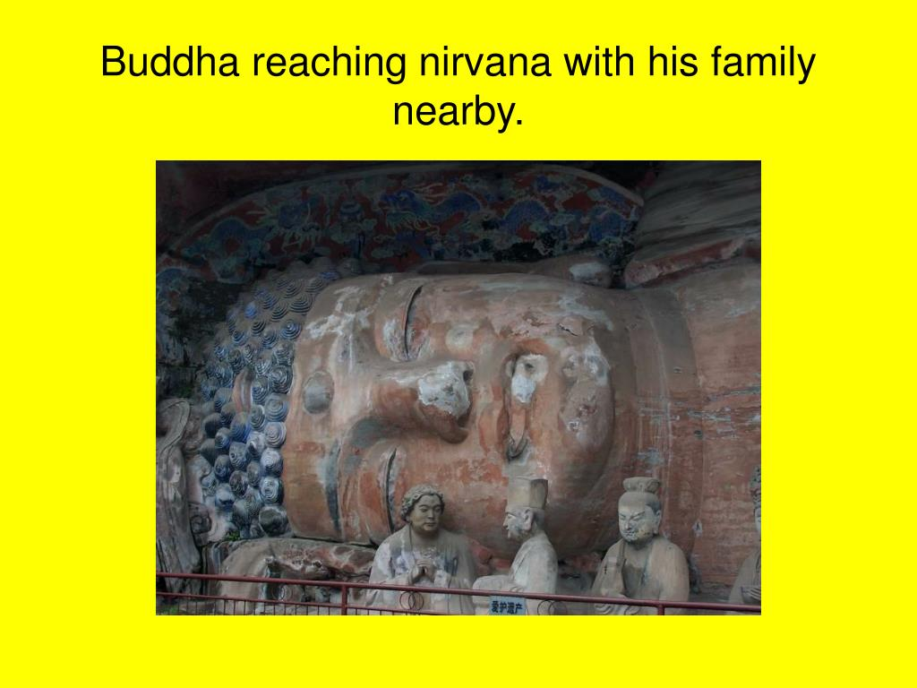 Buddha reaching nirvana with his family nearby.