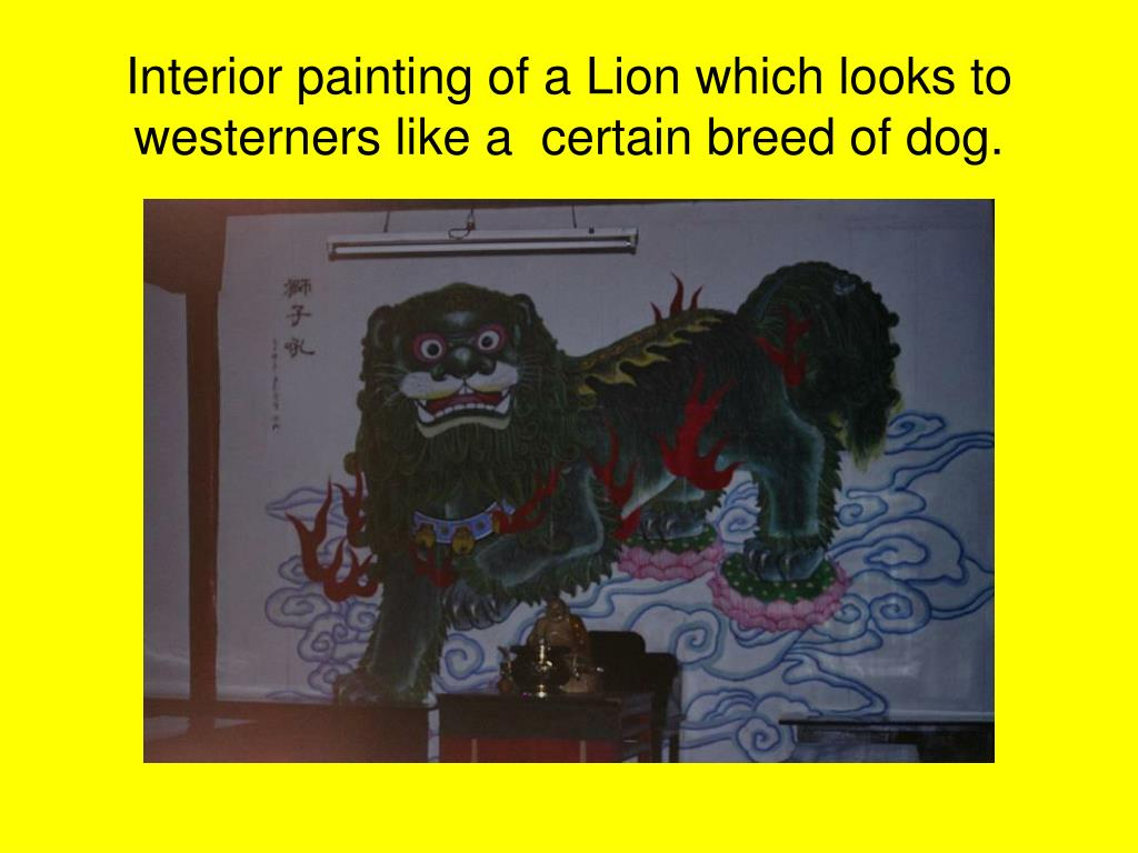 Interior painting of a Lion which looks to westerners like a  certain breed of dog.