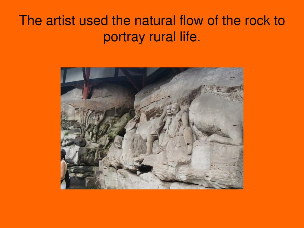 The artist used the natural flow of the rock to portray rural life.