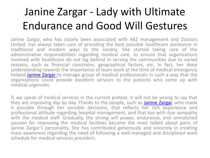 janine zargar lady with ultimate endurance and good will gestures n.