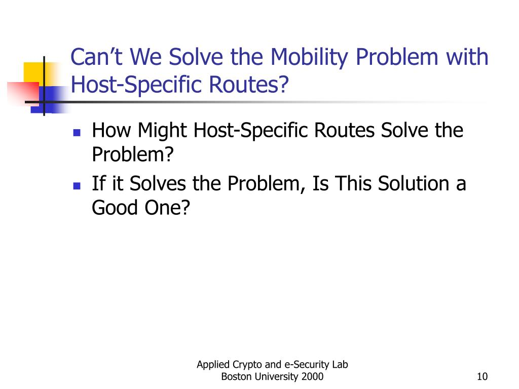 Can't We Solve the Mobility Problem with Host-Specific Routes?