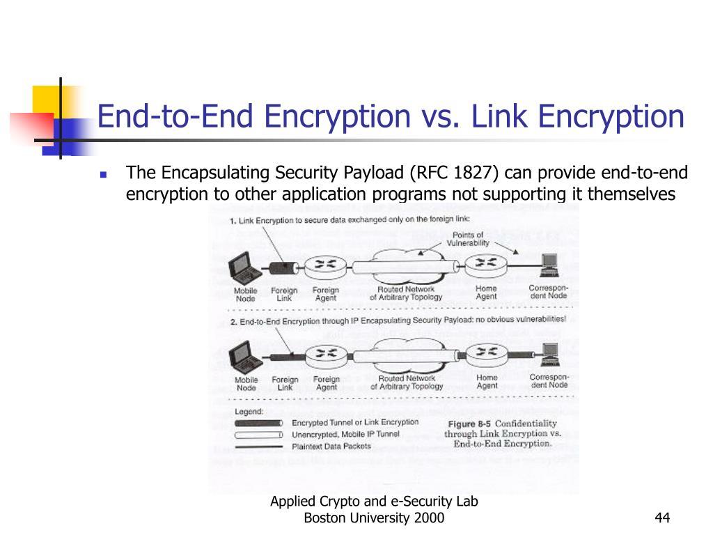 End-to-End Encryption vs. Link Encryption