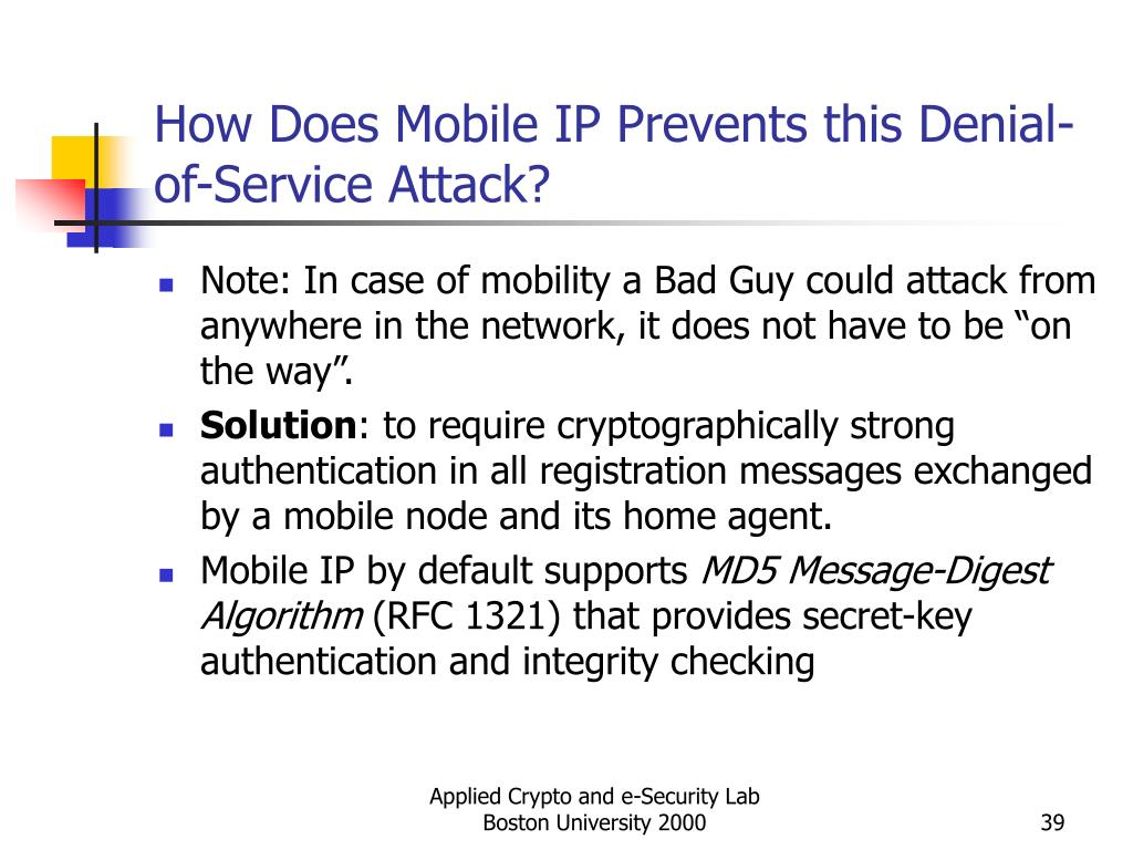 How Does Mobile IP Prevents this Denial-of-Service Attack?