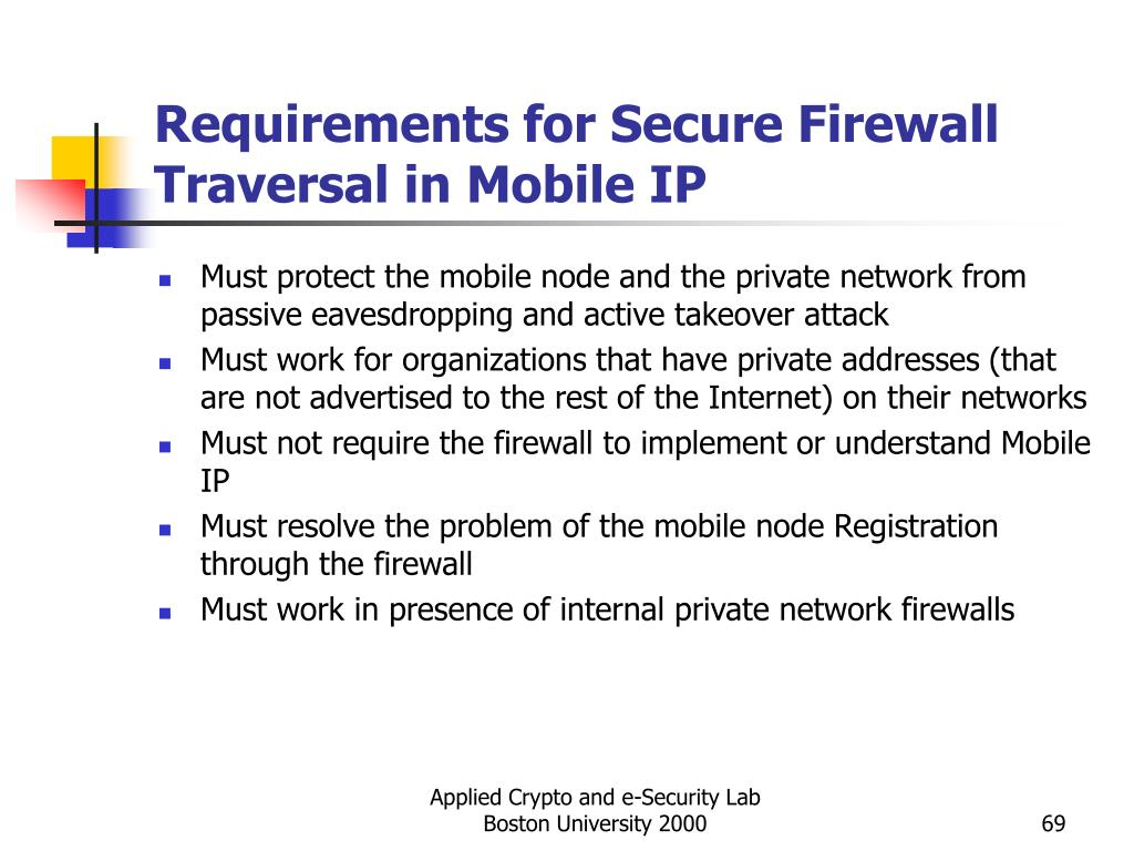 Requirements for Secure Firewall Traversal in Mobile IP