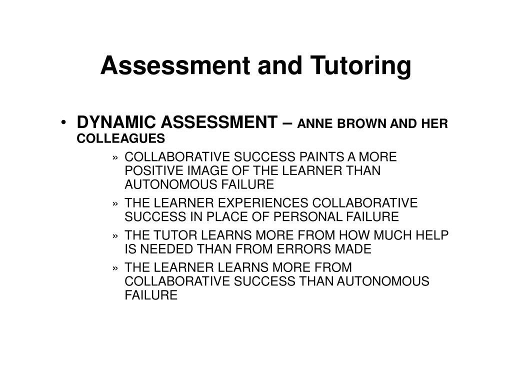 Assessment and Tutoring