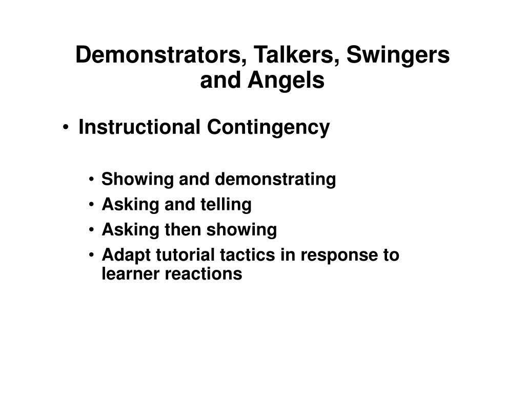 Demonstrators, Talkers, Swingers and Angels