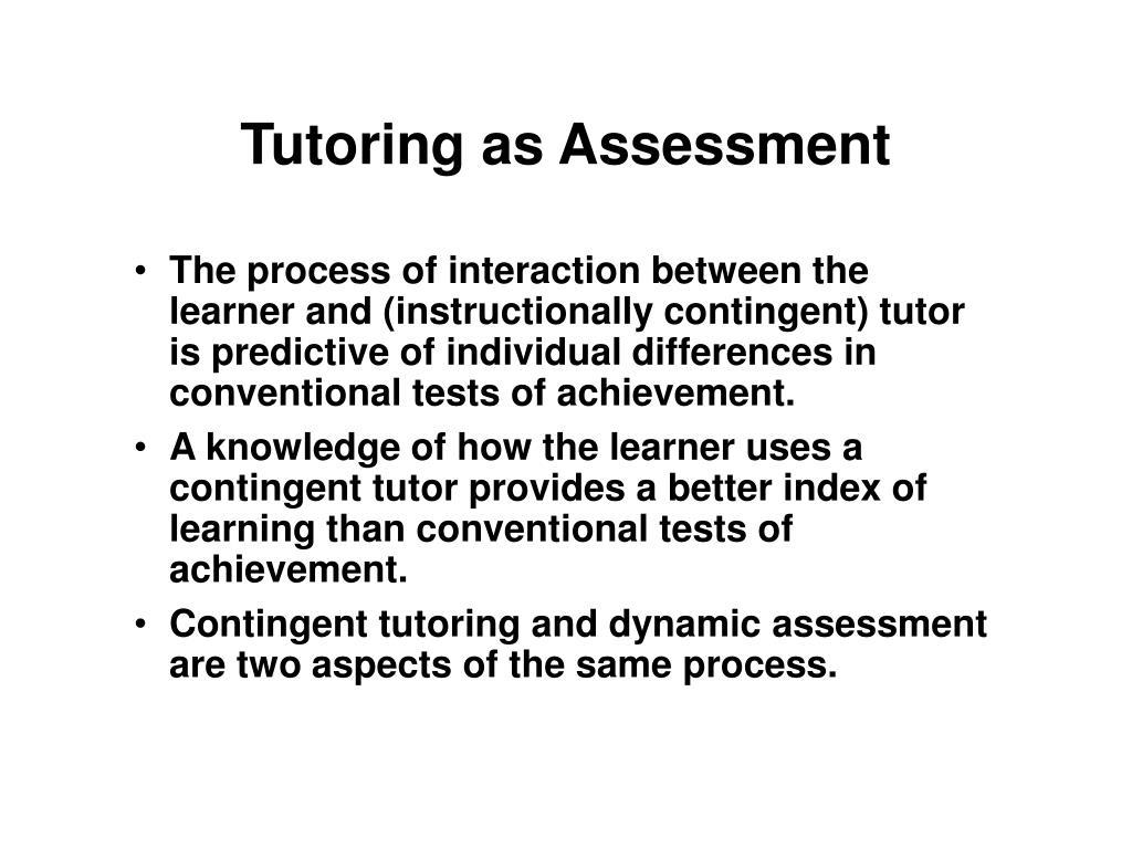 Tutoring as Assessment