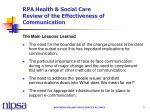 rpa health social care review of the effectiveness of communication3