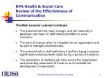 rpa health social care review of the effectiveness of communication4