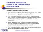 rpa health social care review of the effectiveness of communication5