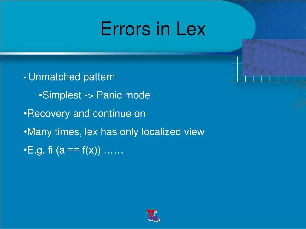 Errors in Lex