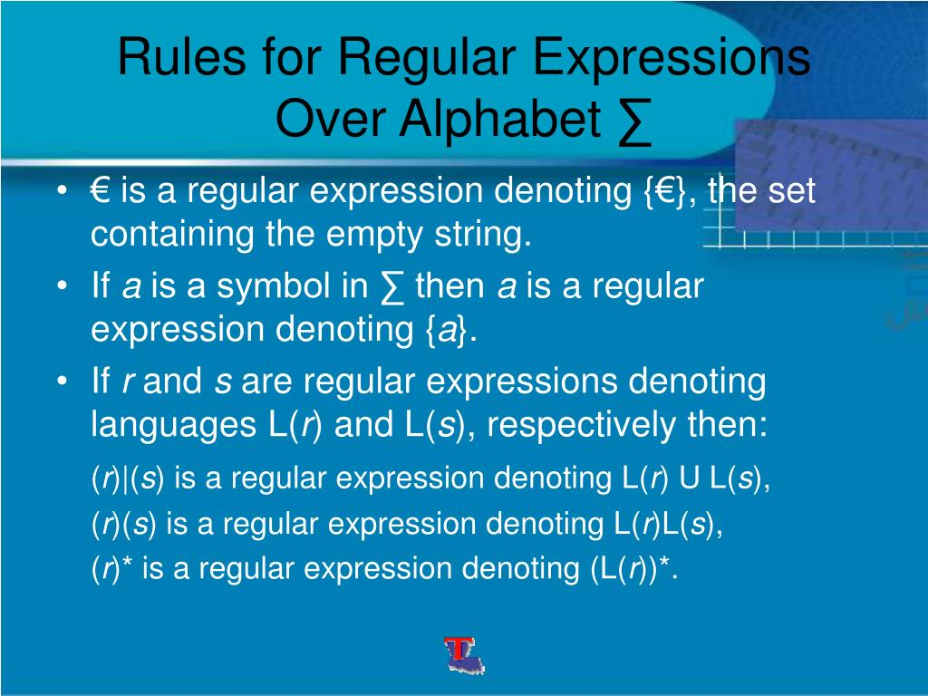 Rules for Regular Expressions Over Alphabet