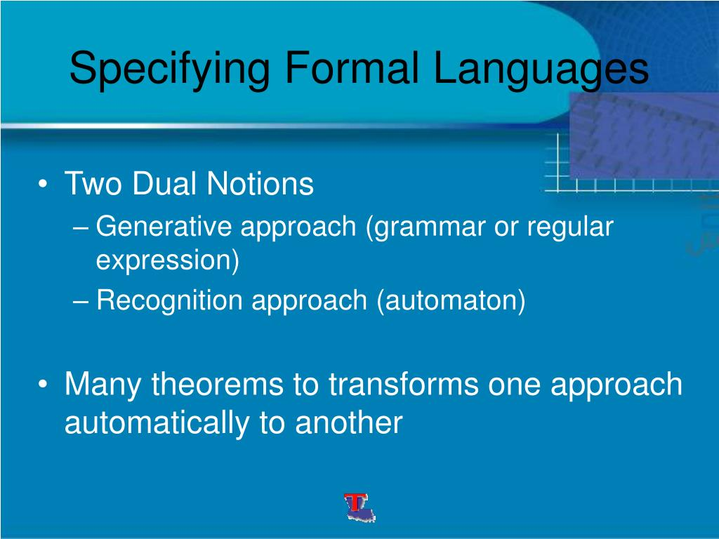 Specifying Formal Languages