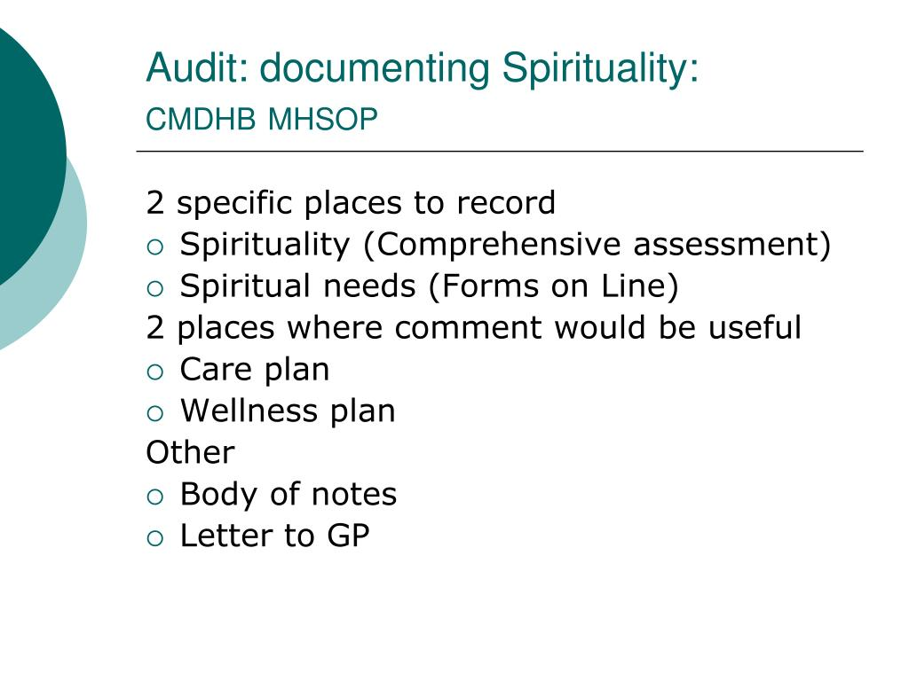 Audit: documenting Spirituality: