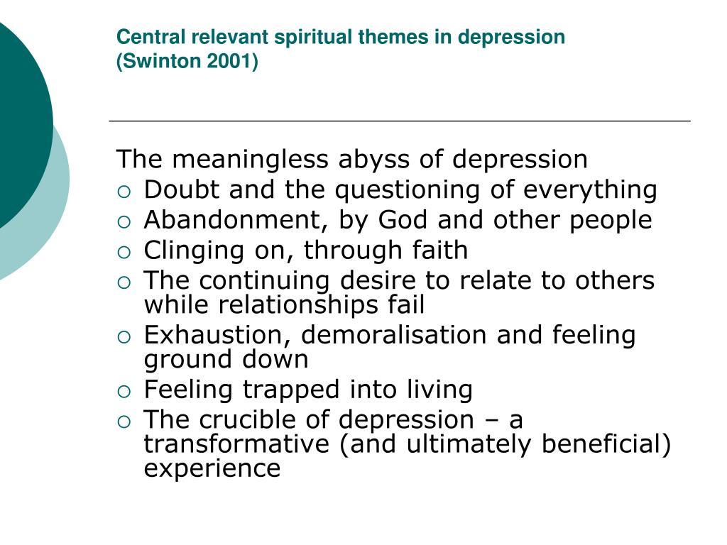 Central relevant spiritual themes in depression