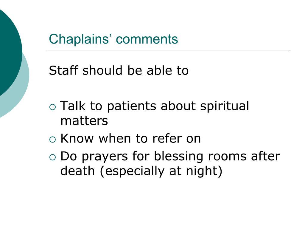 Chaplains' comments