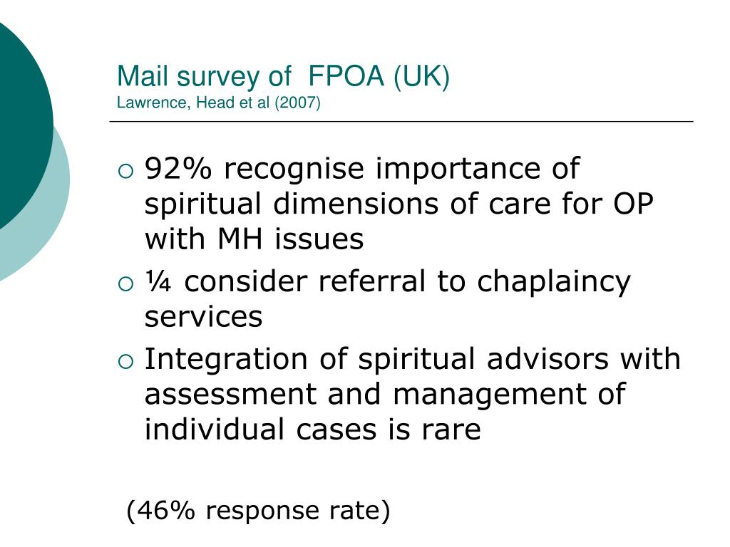 Mail survey of  FPOA (UK)