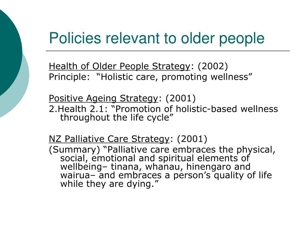 Policies relevant to older people