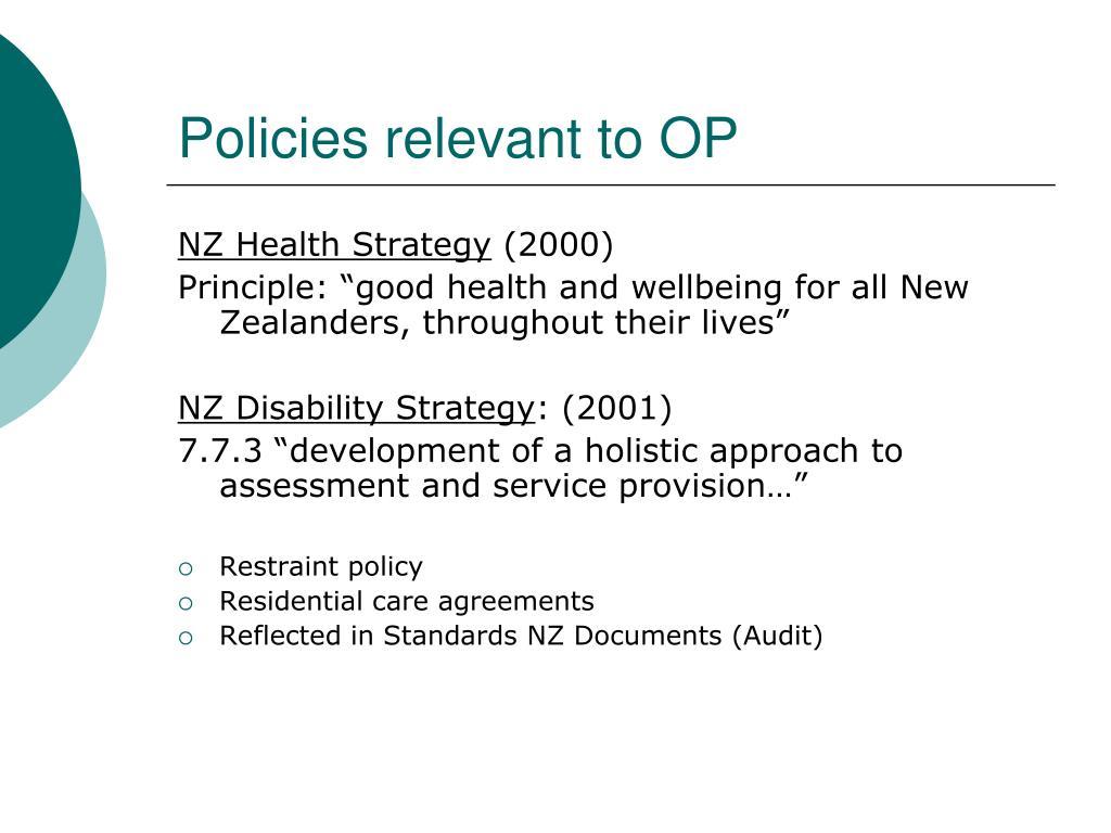 Policies relevant to OP