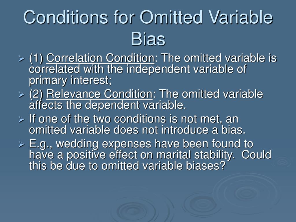 Conditions for Omitted Variable Bias