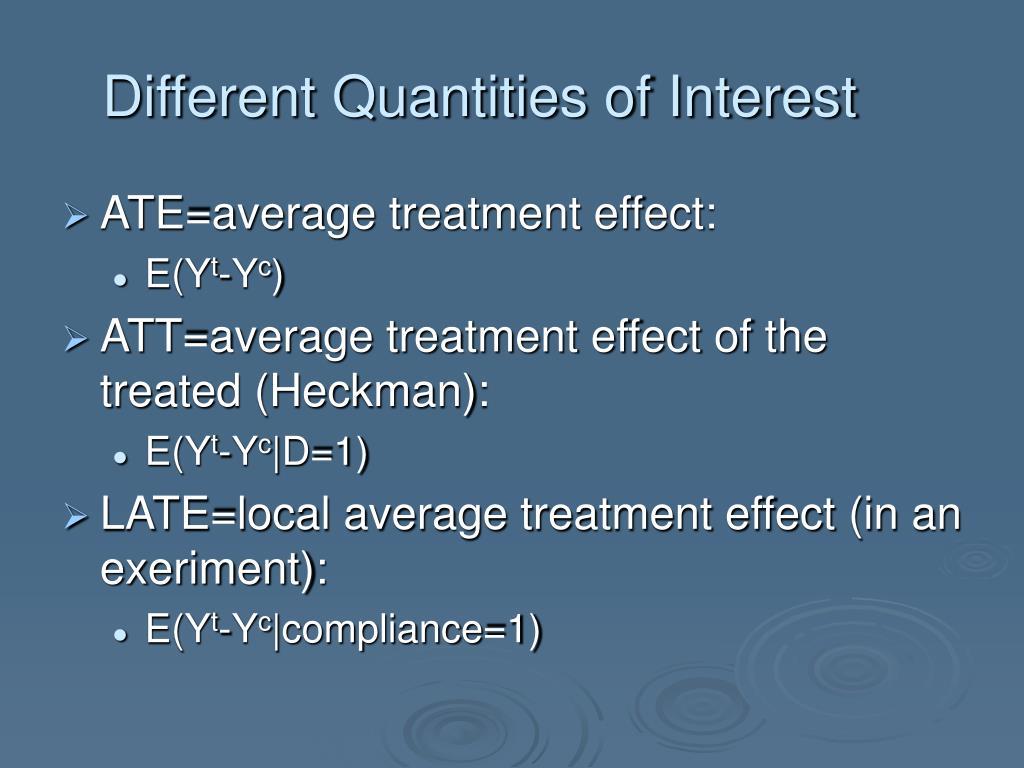 Different Quantities of Interest