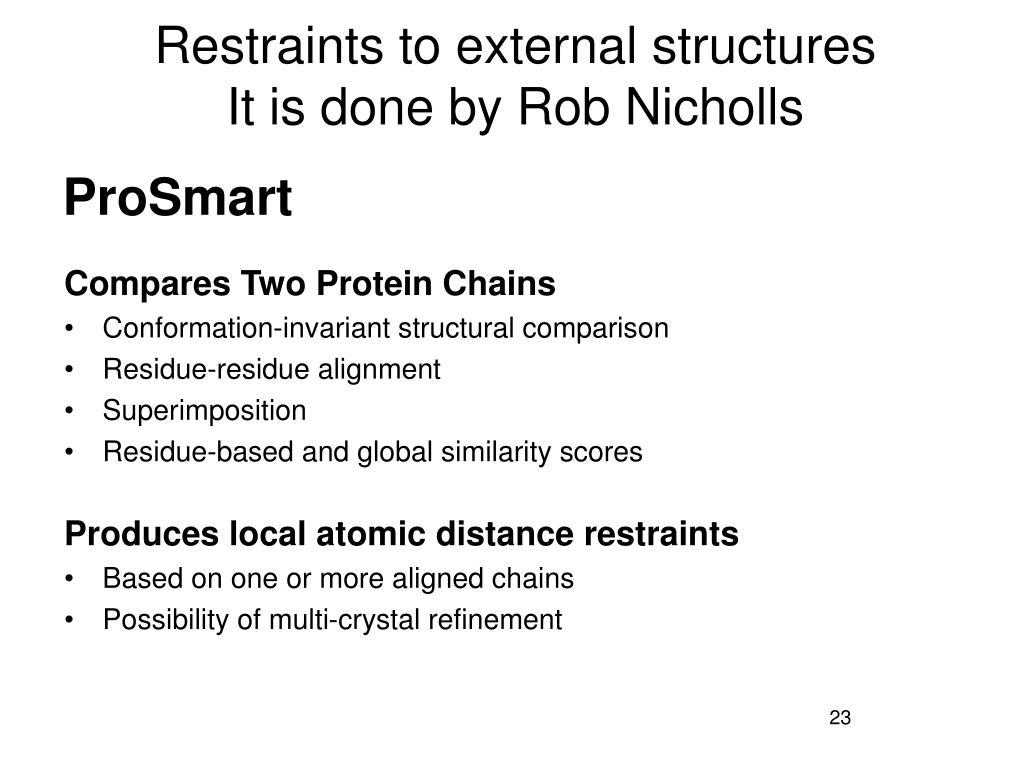Restraints to external structures