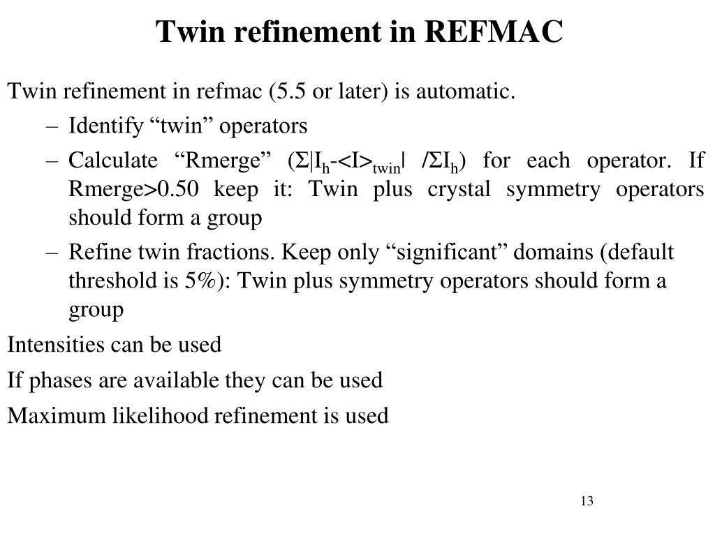 Twin refinement in REFMAC