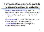 european commission to publish a code of practice for websites93