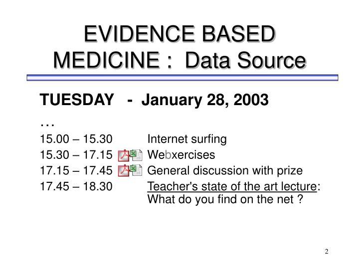 Evidence based medicine data source