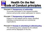 health on the net code of conduct principles88