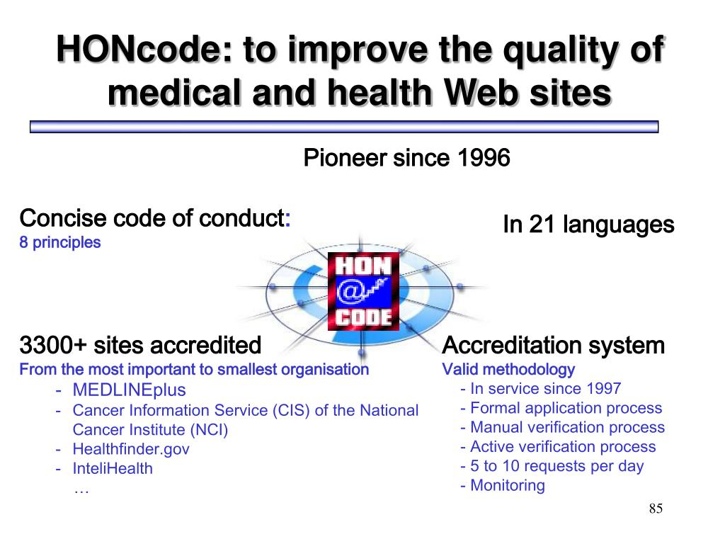 HONcode: to improve the quality of
