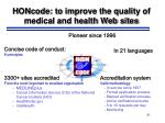 honcode to improve the quality of medical and health web sites