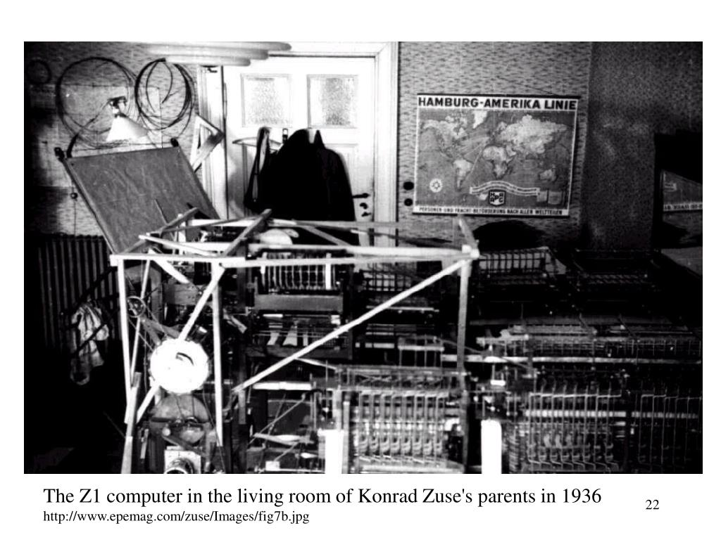 The Z1 computer in the living room of Konrad Zuse's parents in 1936