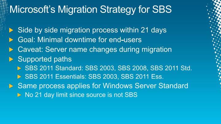 Microsoft s migration strategy for sbs