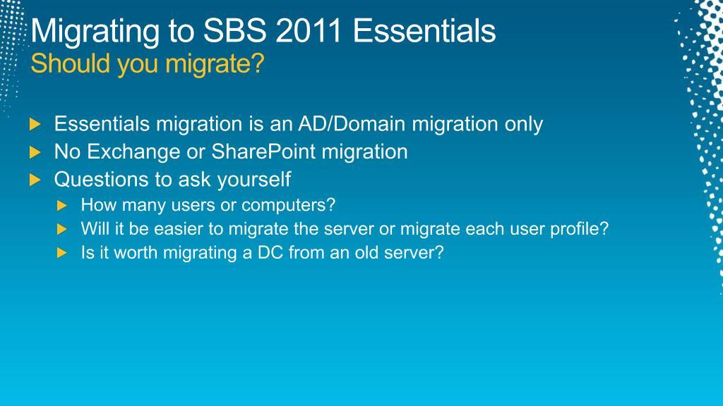 Migrating to SBS 2011