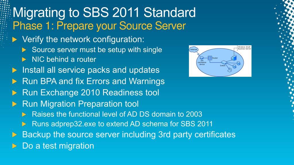 Migrating to SBS 2011 Standard