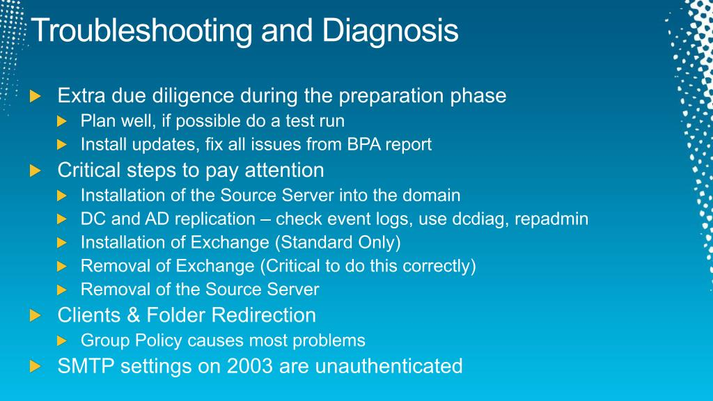 Troubleshooting and Diagnosis