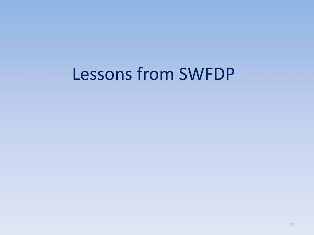 Lessons from SWFDP